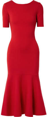 Oscar de la Renta Tie-back Wool Midi Dress - Red
