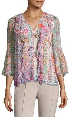 Elie Tahari Faith Floral-Print Ruffle Silk Blouse $298 thestylecure.com