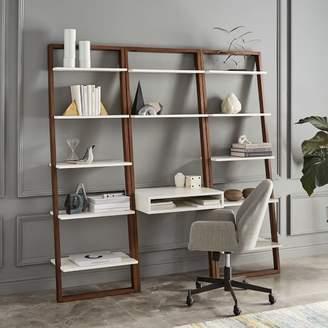 west elm Ladder Shelf Desk + Wide Bookshelf Set (White/Espresso)