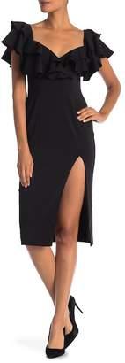 Jay Godfrey Prairie Off-the-Shoulder Ruffled Midi Dress