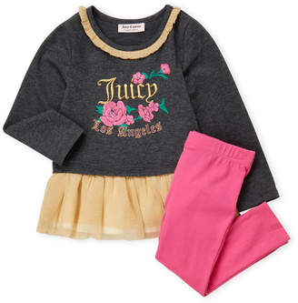 Juicy Couture Toddler Girls) Two-Piece Embroidered Tutu Top & Pink Leggings Set