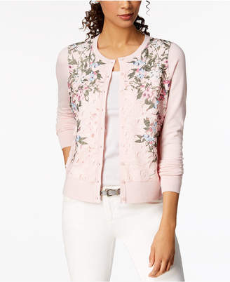Charter Club Lace-Front Cardigan, Created for Macy's