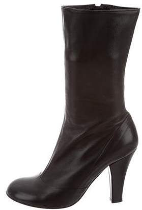 Marc Jacobs Leather Round-Toe Ankle Boots