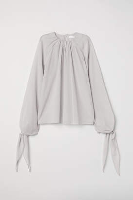 H&M Creped Silk-blend Blouse - Gray