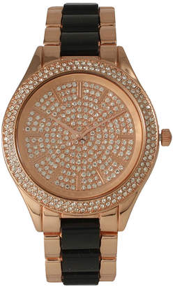 OLIVIA PRATT Olivia Pratt Womens Rhinestone Bezel Rhinestone Dial Rose Black Two Tone Bracelet Watch 15295