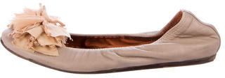 Lanvin Bow-Accented Leather Flats $175 thestylecure.com