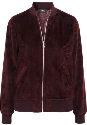A.P.C. Norma Cotton-corduroy Bomber Jacket - Burgundy