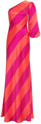 Saloni Lily One Shoulder Striped Gown