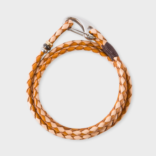 Paul SmithMen's Light And Dark Taupe Leather Wrap Bracelet