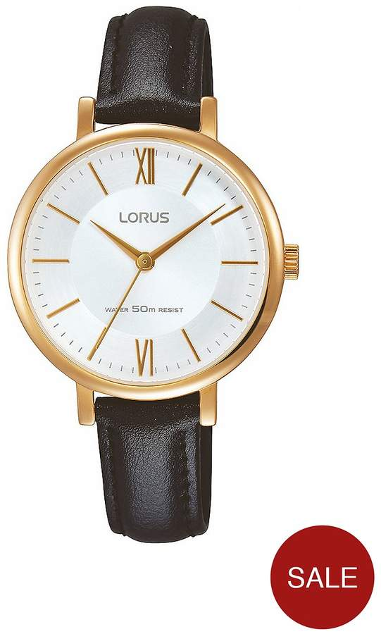 Womens Stylish Black Leather Strap Rose Gold Case Watch