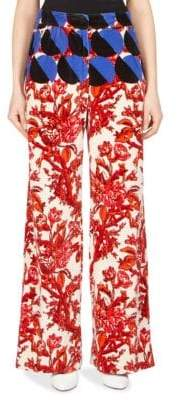 Dries Van Noten Oversize Printed Velvet Wide-Leg Pants