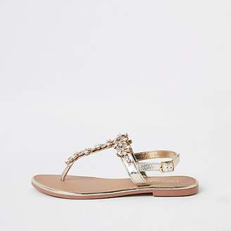 River Island Gold embellished leather sandal
