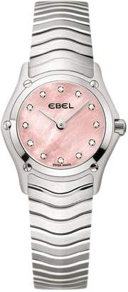 Ebel Classic 1216279 Diamond Set Pink Mother of Pearl Dial Screw Detail Stainless Steel Ladies Watch