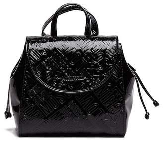 Love Moschino Embossed Metallic Logo PU Leather Satchel Bag