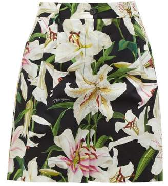 Dolce & Gabbana Lilium Print Cotton Poplin Shorts - Womens - Black Print