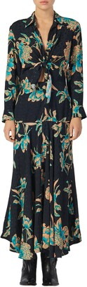 Sandro Blaire Floral Print Long Sleeve Dress