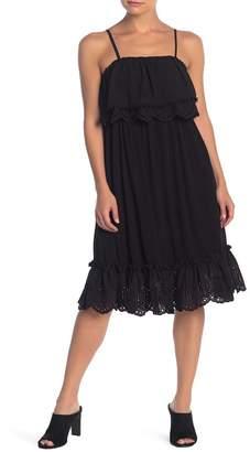 Love Stitch Spaghetti Strap Ruffle Trim Dress
