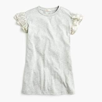 J.Crew Girls' T-shirt dress with ruffle sleeves