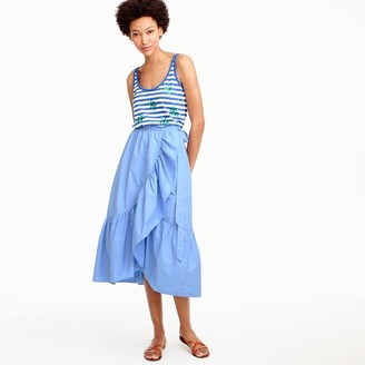 Ruffle wrap skirt in cotton poplin $98 thestylecure.com