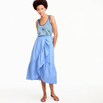 Ruffle wrap skirt in cotton poplin $98 thestylecure.com