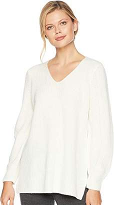 Calvin Klein Women's V-Neck Sweater with Poetic Sleeve and Stitching Detail