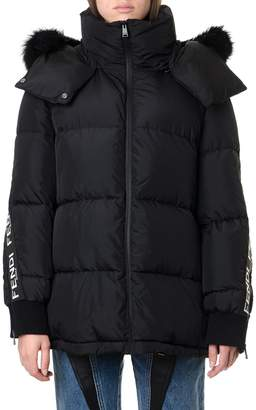 Fendi Sleeve Logo Band Hooded Puffer Jacket