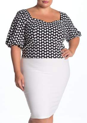 ELOQUII Embroidered Sweetheart Puff Sleeve Top (Plus Size)