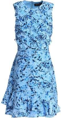 Saloni Ruffled Floral-Print Silk-Georgette Mini Dress