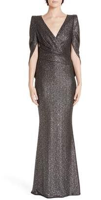 Talbot Runhof Sequined Metallic Drape Back Trumpet Gown