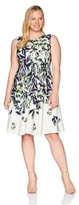 Gabby Skye Women's Plus Size Sleeveless Sand Printed Dress