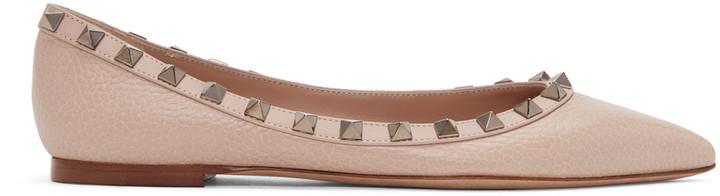 Valentino Pink Rockstud Ballerina Flats