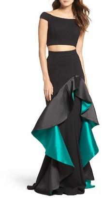 Women's Jovani Two-Piece Mermaid Ballgown $738 thestylecure.com
