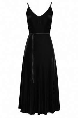 UNDRESS - Ariadne Black Silk Velvet Mermaid Skirt Rope Trim Dress