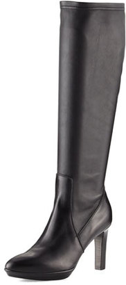 Aquatalia Rumbah Weatherproof Leather Knee Boot, Black $750 thestylecure.com