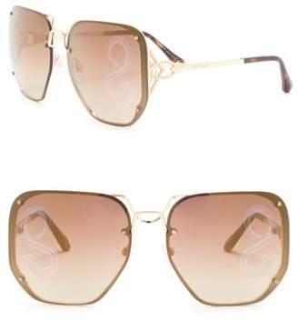 Roberto Cavalli 62mm Metal Oversized Square Sunglasses