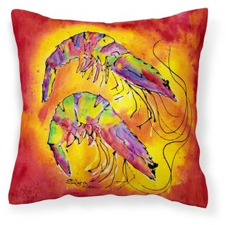 Caroline's Treasures Bright Shrimp on Red Fabric Decorative Pillow