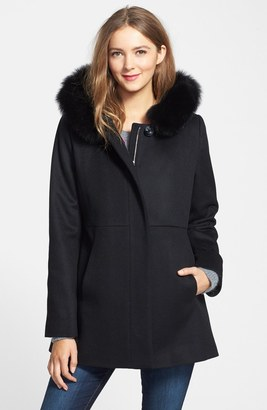 SACHI Genuine Fox Fur Trim Hooded Wool Blend Coat $348 thestylecure.com