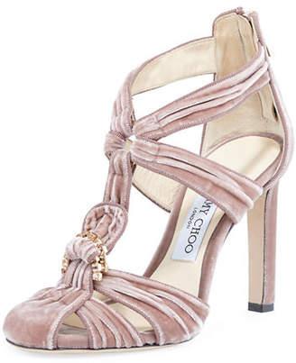 Jimmy Choo Krissy Embellished Velvet Sandal
