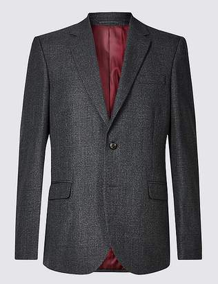Marks and Spencer Charcoal Checked Regular Fit Jacket
