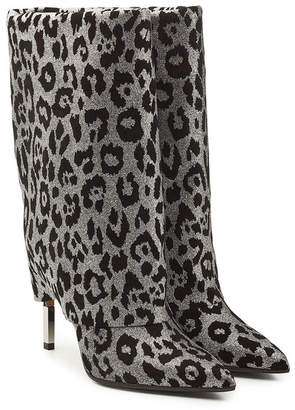 Balmain Babette Leopard Print Leather Knee Boots