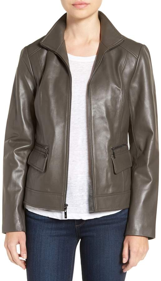 Cole Haan  Cole Haan Genuine Leather Spread Collar Jacket
