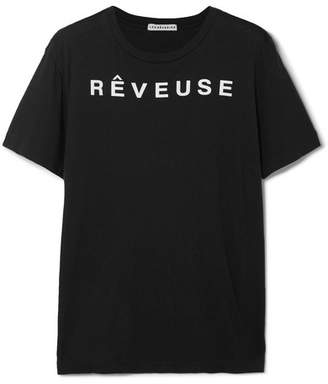 Les Rêveries - Printed Cotton And Cashmere-blend T-shirt - Black