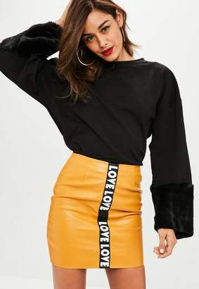 Missguided Black Faux Fur Cuff Sweatshirt