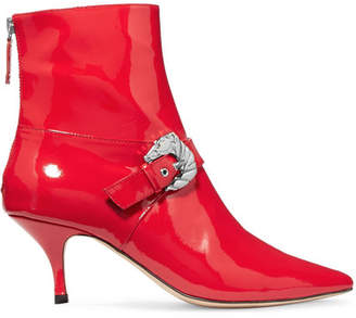 DORATEYMUR - Saloon Buckled Patent-leather Ankle Boots - Red