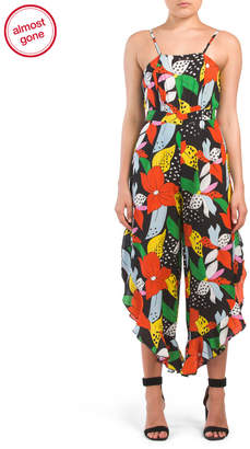 Juniors Tropical Floral Sleeveless Jumpsuit