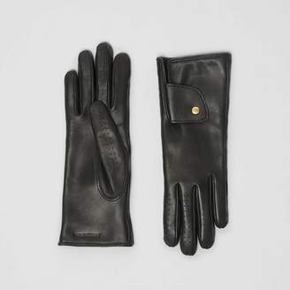 Burberry Cashmere-lined Lambskin Gloves , Size: 6.5, Black