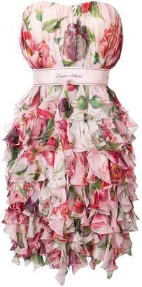 Dolce & Gabbana strapless floral print dress