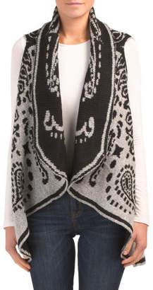 Printed Draped Sweater Vest