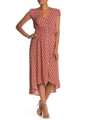 BeBop Floral V-Neck Cap Sleeve Smocked Midi Dress
