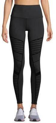 739ad0ea9ac38 Alo Yoga Flocked High-Waist Moto Leggings